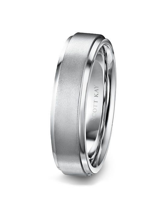 Men's Platinum 6mm Wedding Band with Raised Satin Center & Bright .