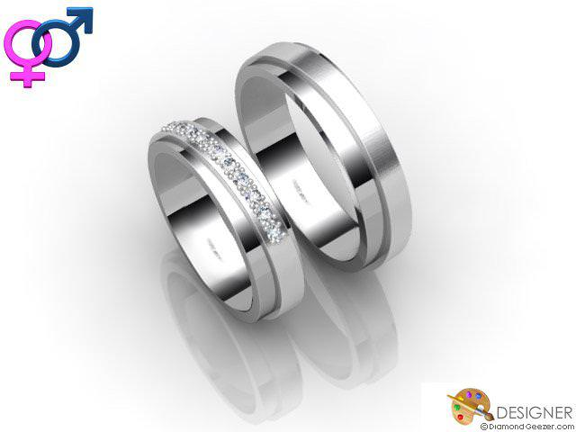 His and Hers Matching Set Platinum Court Wedding Ring | D20811 .