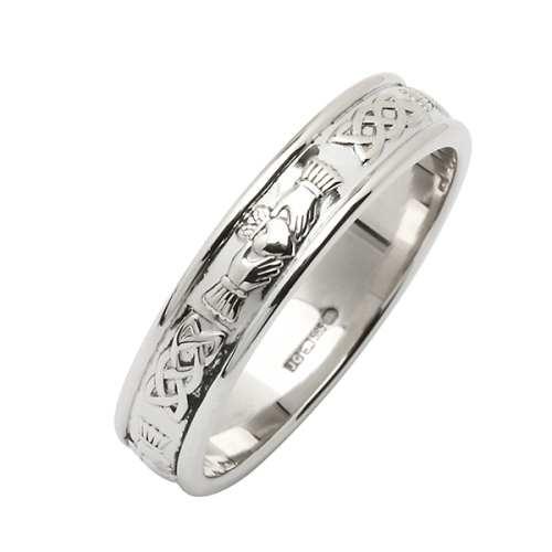 Platinum Claddagh Ring - Platinum Irish Wedding Ring - Fado Jewel