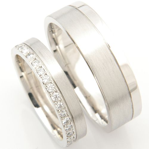 Platinum Matching Pair of Wedding Rings -Designed to compliment .