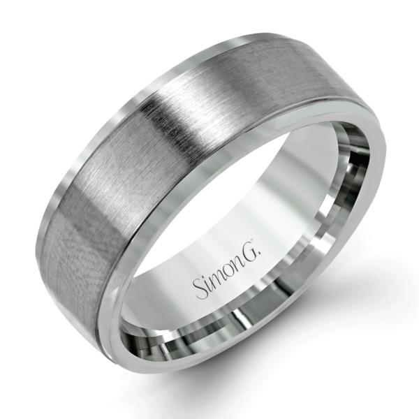 Simon G - Modern Brushed Finish Men's Platinum Wedding Band .