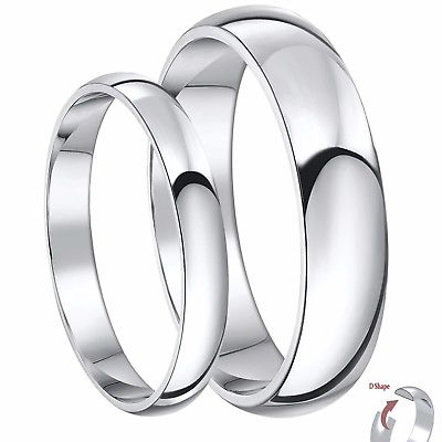Platinum Wedding Bands His & Hers 3 & 5mm Heavy Weight D Shape .