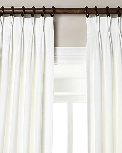 Amazon.com: White Organic Linen Living Room Pinch Pleated Lined .