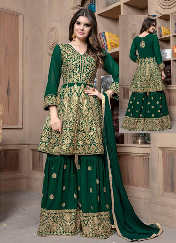 Georgette Readymade Embroidered Sharara Salwar Suit, Size: 34, 36 .