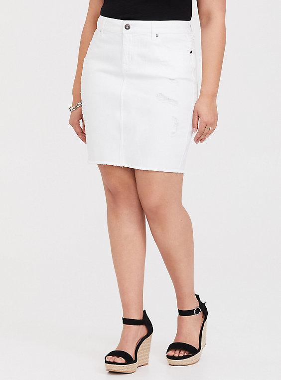 Plus Size - Mini Denim Skirt - Distressed White - Torr