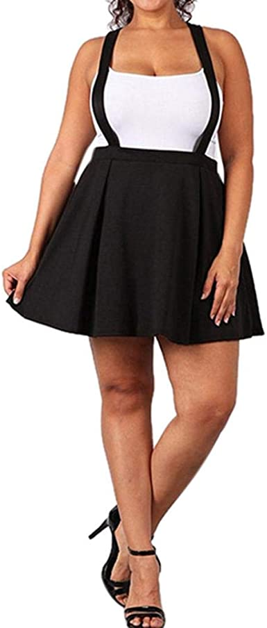 LISTHA Plus Size Strap Mini Pleated Skirt for Women Solid Black .