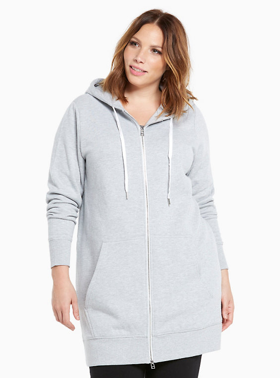 Plus Size - Zip Up Tunic Hoodie - Torr