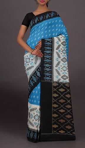 Pochampally ikat cotton saree skyblue and black color – Lydiaspurp