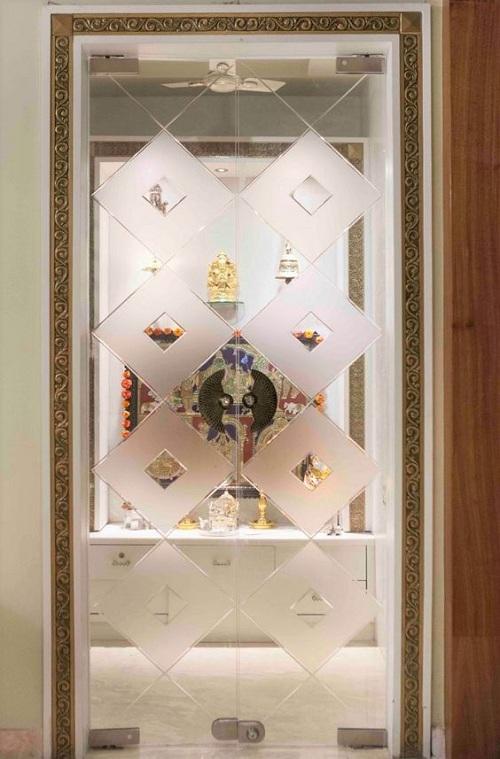 Pooja Door Glass Designs