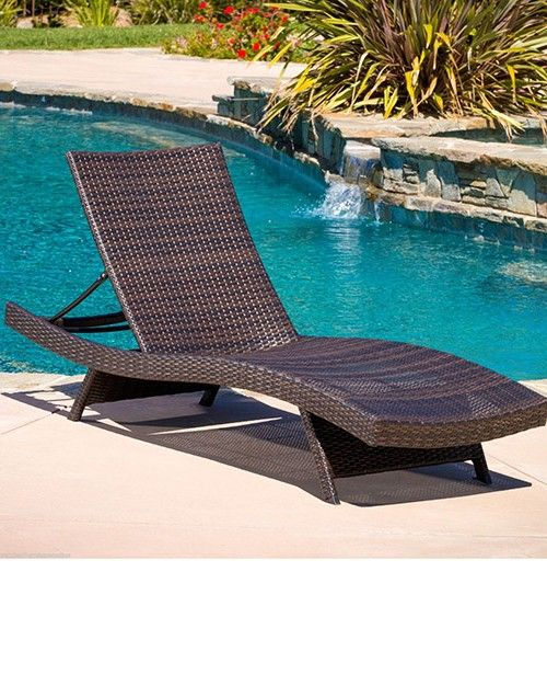 Plastic pool lounge chairs | Outdoor wicker chaise lounge, Pool .