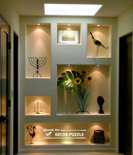 modern POP wall designs in hall shelves in POP designs | Niche desi