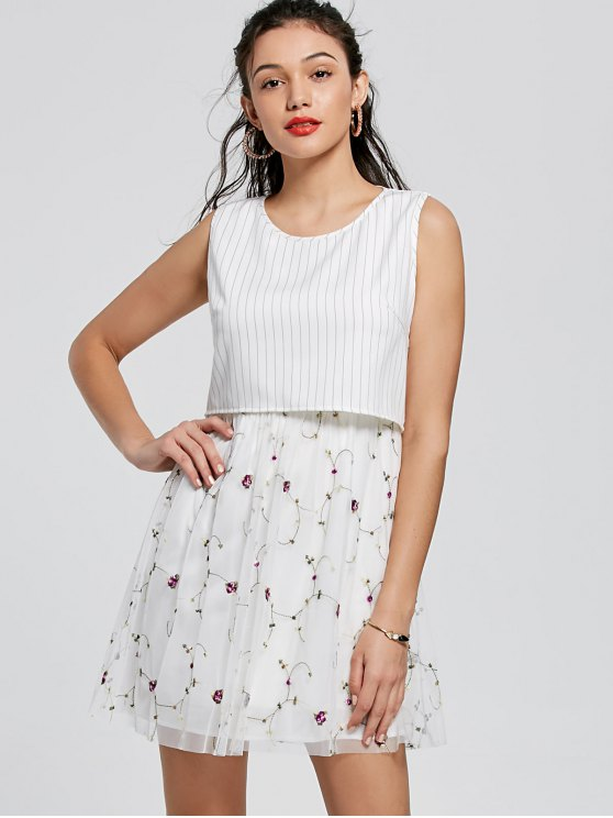 26% OFF] 2020 Embroidery Striped Mini Popover Dress In WHITE | ZAF