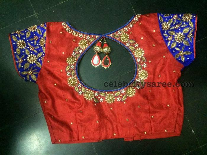 Red and Blue Zardosi Blouse - Saree Blouse Patter