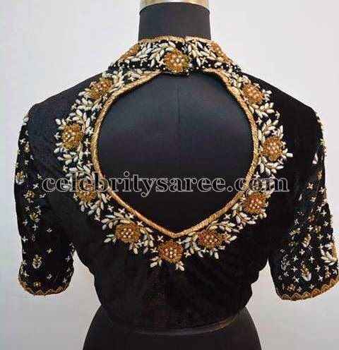 Black high neck ,pot back neck blouse ! | Blouse designs silk .