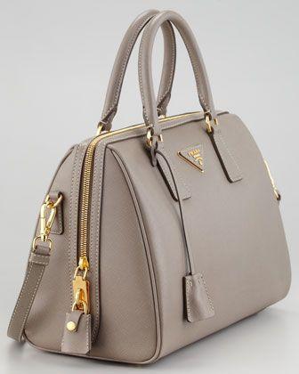 Women's Purses : Saffiano Shoulder-Strap Bowler Bag Gray (Argilla .