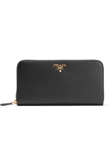 Prada Textured-leather continental wallet Black Women's [905090 .