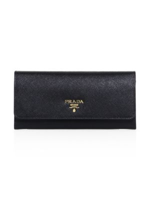 Prada - Saffiano Leather Continental Flap Wallet - saks.c