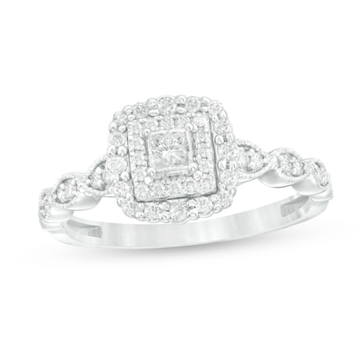 3/8 CT. T.W. Princess-Cut Diamond Double Frame Art Deco Vintage .