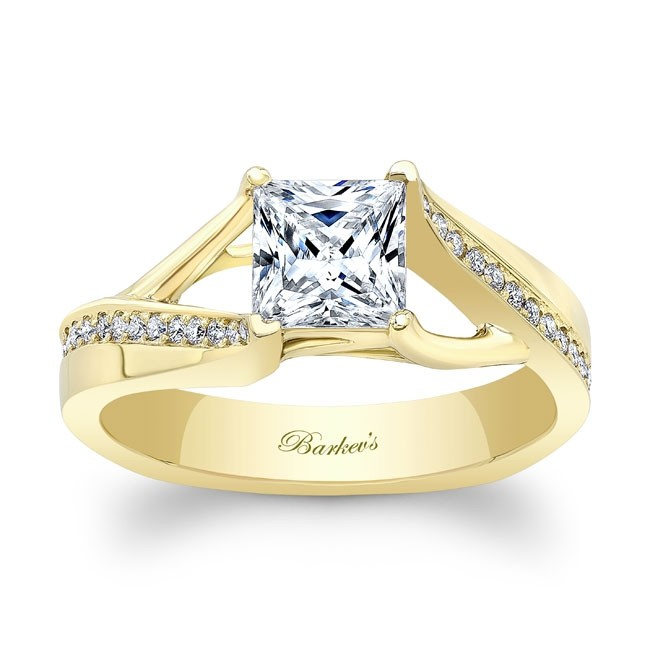 Barkev's Yellow Gold Princess Cut Engagement Ring 8091LY | Barkev
