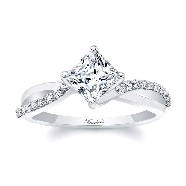Barkev's Princess Cut White Gold Engagement Ring 8076L | Barkev