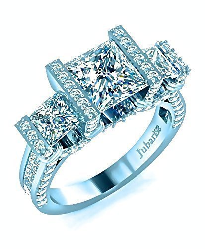 Amazon.com: 3 Stone Princess Cut Engagement Ring 2.52 Ctw. Diamond .