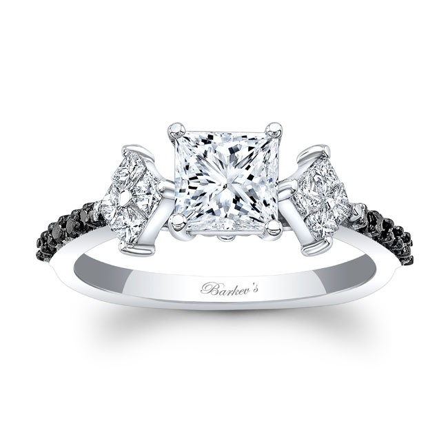 Barkev's Black Diamond Princess Cut Engagement Ring 8084LBK | Barkev