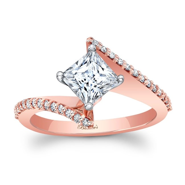 Barkev's Rose Gold Bypass Princess Cut Engagement Ring 8074LP .