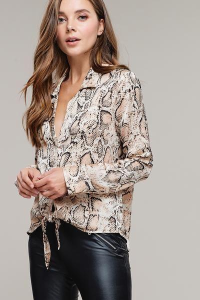 Tan Snake Print Blouse (With images) | Snake print dress, Print .