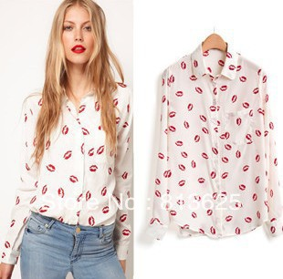 Free Shipping flower printed women shirt Red lip Print Blouse - ZKK