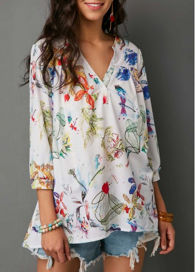 Printed Three Quarter Sleeve Split Neck Blouse (With images .