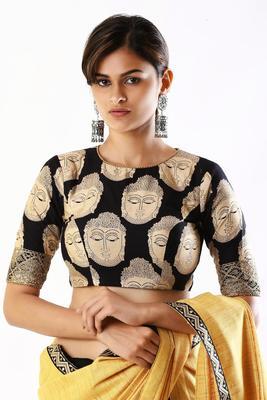 Black printed silk readymade-blouse - XOMANTIC FASHION - 28062