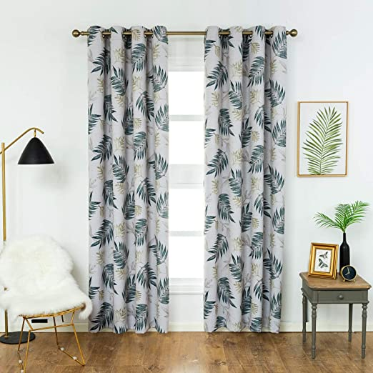 Amazon.com: Anjee Leaf Printed Blackout Curtains Drapes for Living .