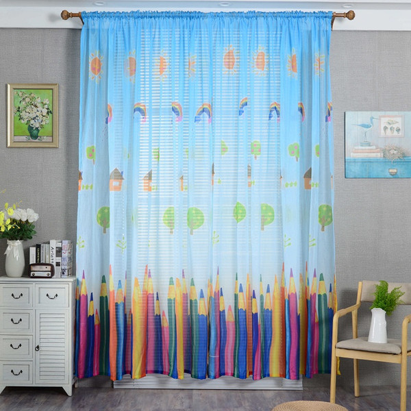 2019 Cartoon Colorful Pencil Printed Curtains Lovely Children For .