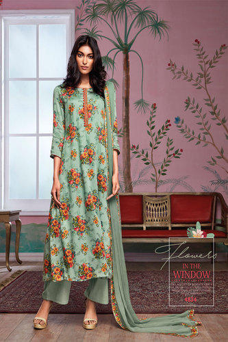 Unstitched Grey Colour Trendy Printed Salwar Suit, Rs 1691 /piece .