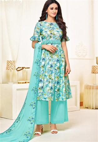 Aqua Blue Designer Cotton Satin Printed Salwar Suit : skek