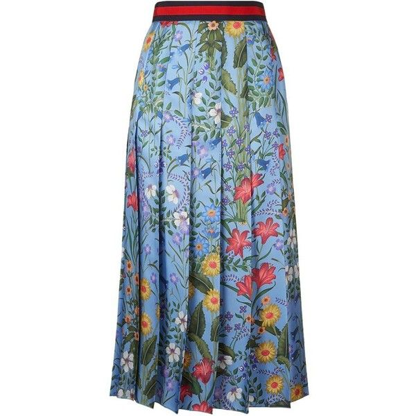 Gucci Floral Print Pleated Skirt | Harrods.com ❤ liked on .