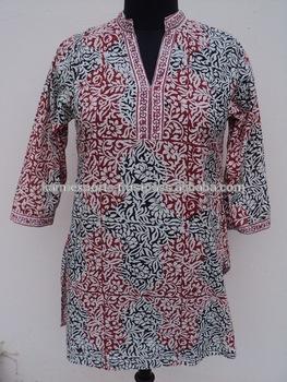 Hand Block Printed Tunic Kurtis / 100% Cotton Tunic / Floral .