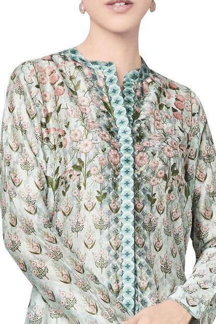 Sage green chanderi silk printed tunic   Kurti neck designs, Print .
