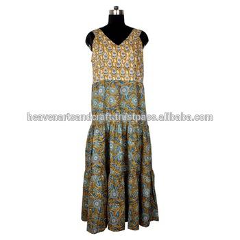 Designer Indian Women Wear Long Kurtis Hand Block Printed Tunic .