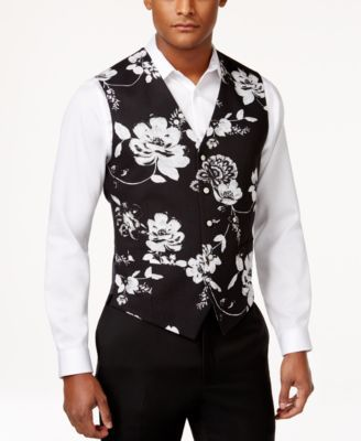 Tallia Men's Slim-Fit Floral-Print Vest   Slim fit men, Printed .