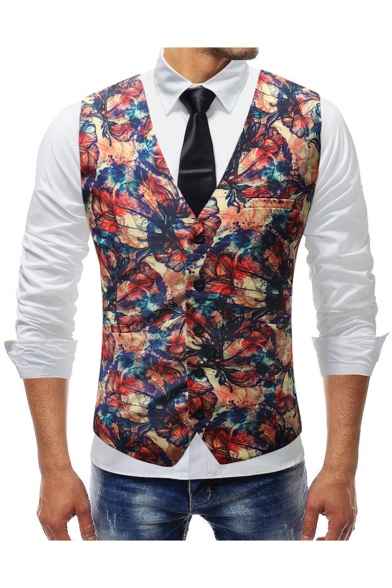 Men's Retro Floral Printed Single Breasted Buckle Back Wedding .