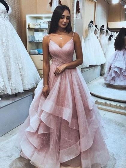 Princess V-neck Glitter Floor-length Cascading Ruffles Prom .