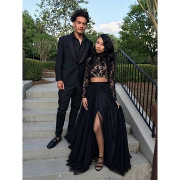 $136.99 Black Long Prom Dresses 2020 Long Sleeves Lace African Two .