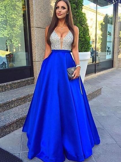 Princess V-neck Satin Floor-length Beading Prom Dresses .