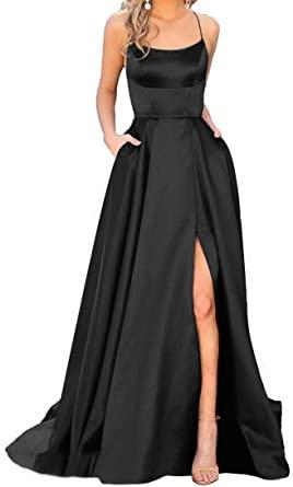 MYDRESS Halter Prom Dresses Long A-Line Split Satin Spaghetti .