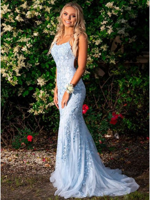 Buy Mermaid Long Spaghetti Straps Light Blue Prom Dress with .
