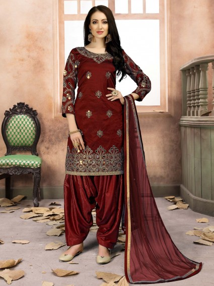 Maroon Silk Mirror Party Punjabi Salwar Kame