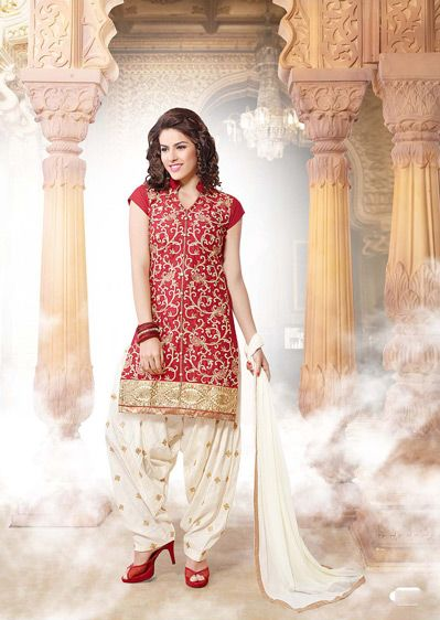 Red Embroidered Cotton Party Wear Punjabi Salwar Suit 32223 .