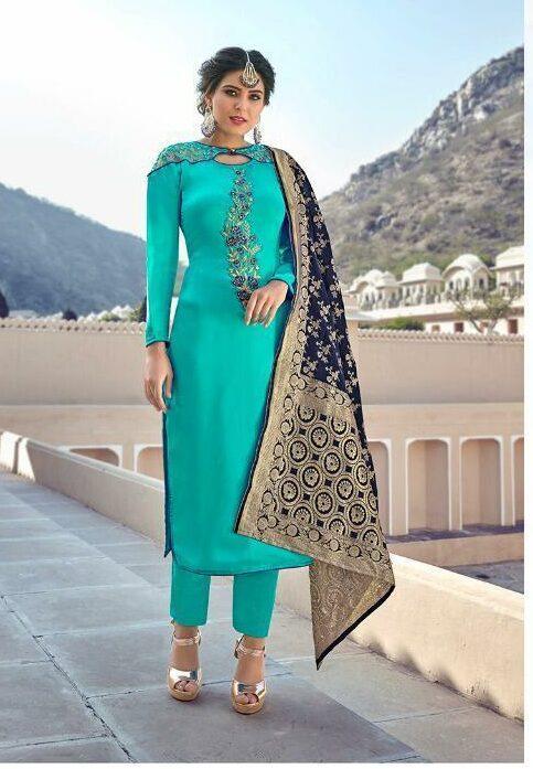 Maskeen Turquoise Colour Designer Punjabi Salwar Suits | Panjabi Sui
