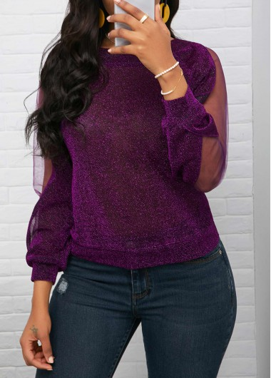 Mesh Panel Purple Three Quarter Sleeve Shiny Blouse (With images .
